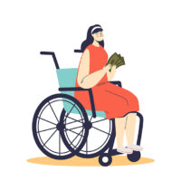 Young woman on wheelchair holding money support from for disability allowance